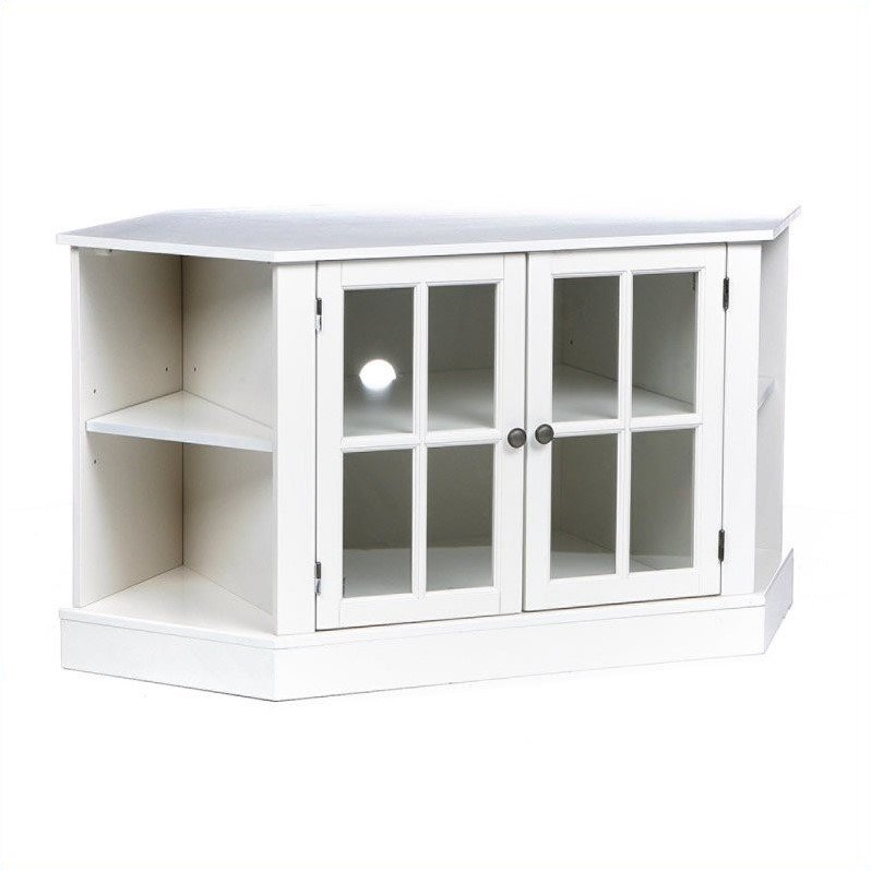 Southern Enterprises Parkridge Corner Media Stand in Painted White - image 3 of 9