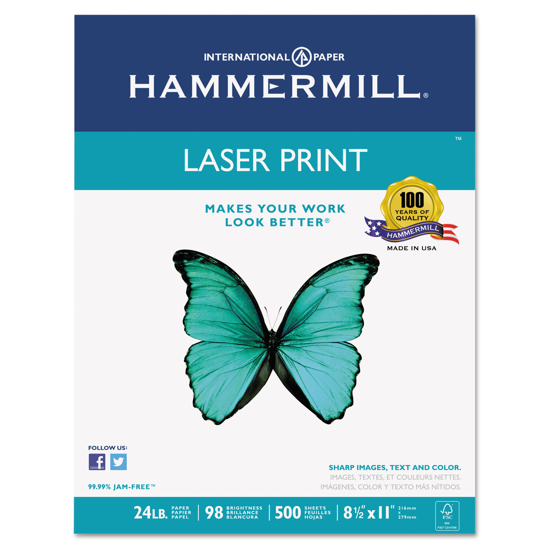 Hammermill Laser Print Office Paper, 98 Brightness, 24lb, 8-1/2 x 11, White, 500 Sheets/Rm