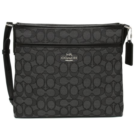 Coach Signature Jacquard Crossbody File Bag Black Smoke