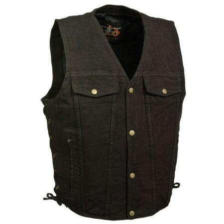 Milwaukee Leather Mens Side Lace Denim Vest w/  Chest Pockets Black (Chest Pocket Leather Vest)
