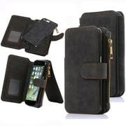 iPhone 7 Plus Case, iPhone 8 Plus Wallet Case, 12 Card Holder, Zipper Cash Change Slot, PU Leather Cover With Detachable Magnetic Hard Phone Case - Black