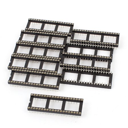 10pcs 2.54mm Pitch 40Pin Double Row DIP Round IC Sockets Adaptor Solder Type