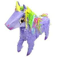 Unicorn Pinata with Rainbow Mane, Purple, 21in x 19in