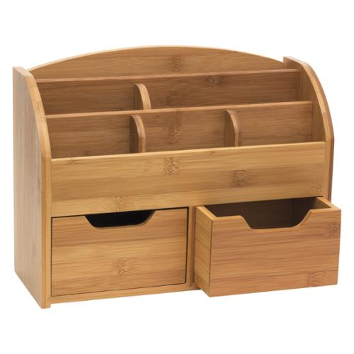 "Lipper Bamboo Space-saving Desk Organizer - Desktop, Wall Mountable - 5.4"" Height X 13"" Width X 10"" Depth - 6 Compartment[s] - 2 Drawer[s] - Bamboo - Brown (809_2)"