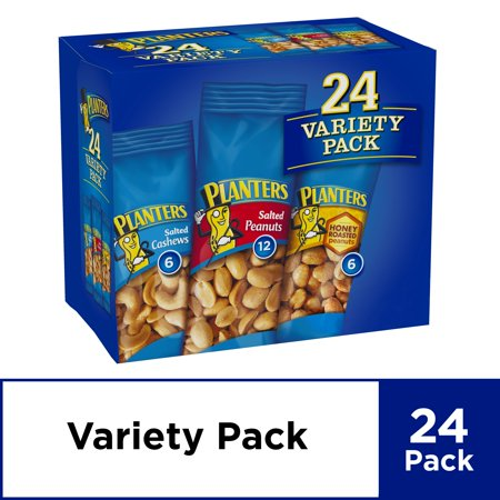 Planters Nut 24 Count-Variety Pack, Salted Peanuts, Honey Roasted Peanuts & Salted Cashews Ready-to-Go Sleeves, 40.5 oz Multi-Pack Box 100 Calorie Snack Pack