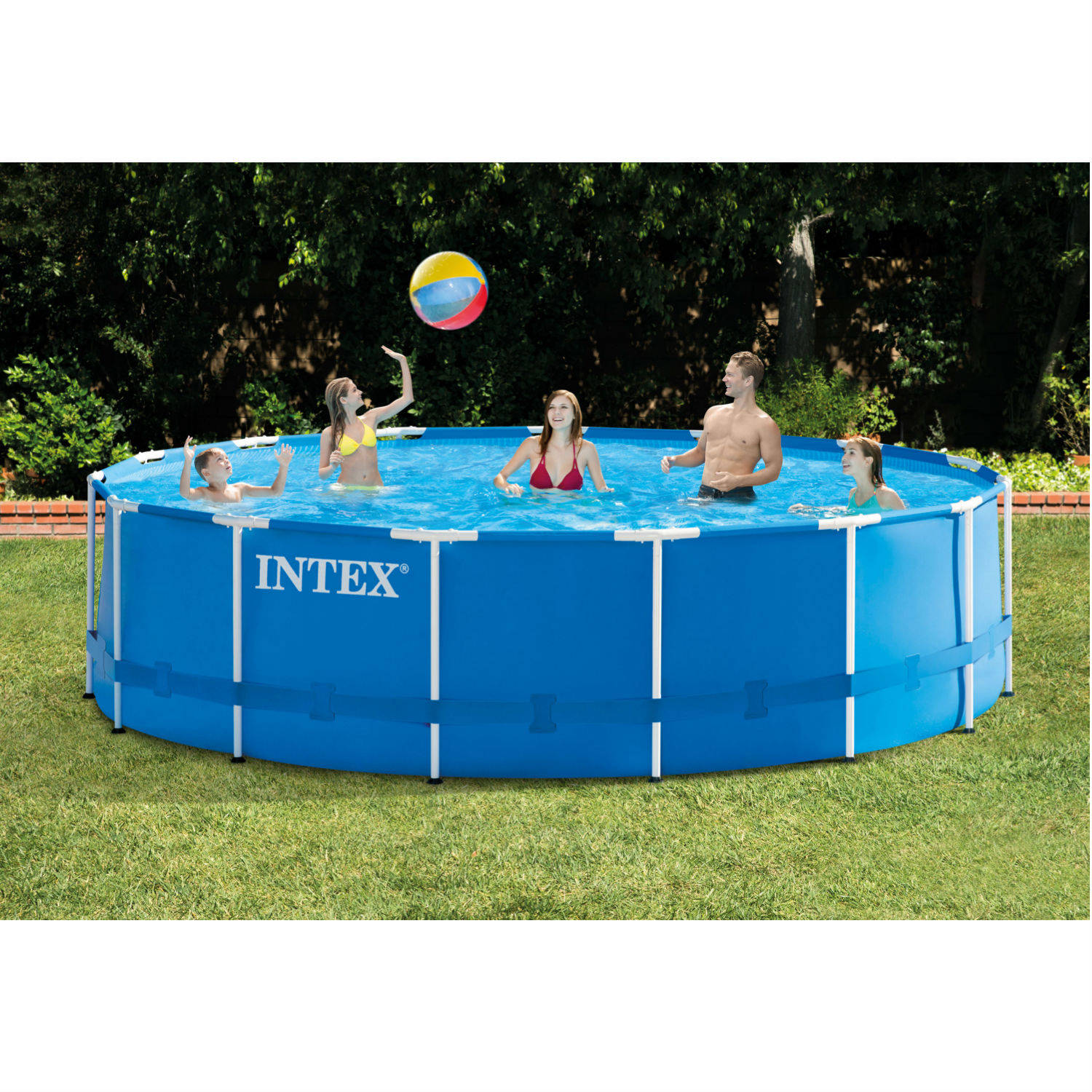 "Intex 15' x 48"" Metal Frame Above Ground Swimming Pool with Filter Pump"