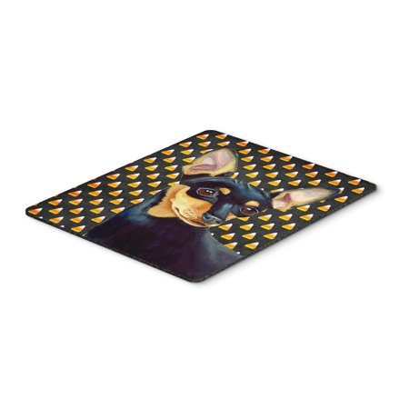 Min Pin Candy Corn Halloween Portrait Mouse Pad, Hot Pad or Trivet