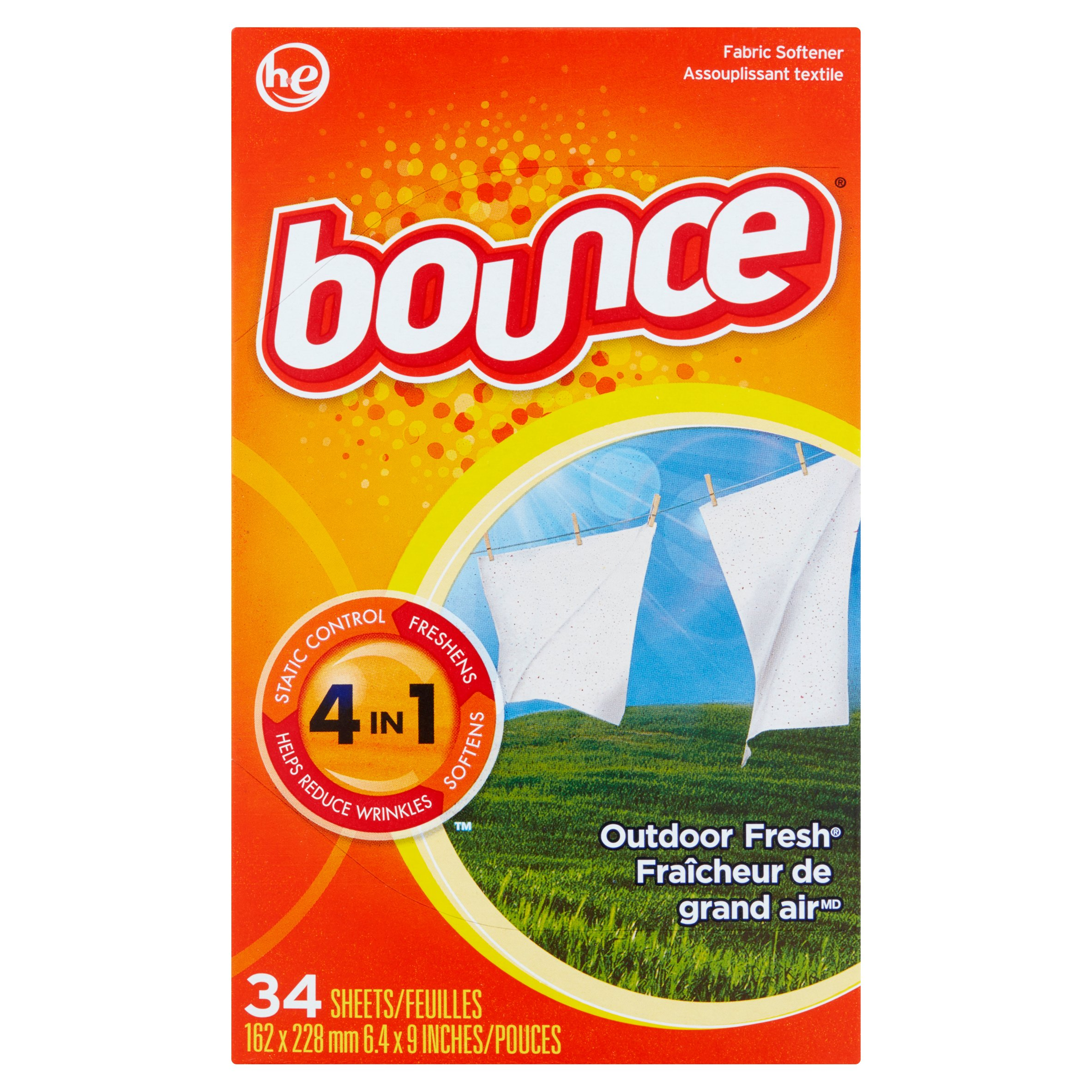 Bounce Outdoor Fresh Fabric Softener Sheets, 34 sheets