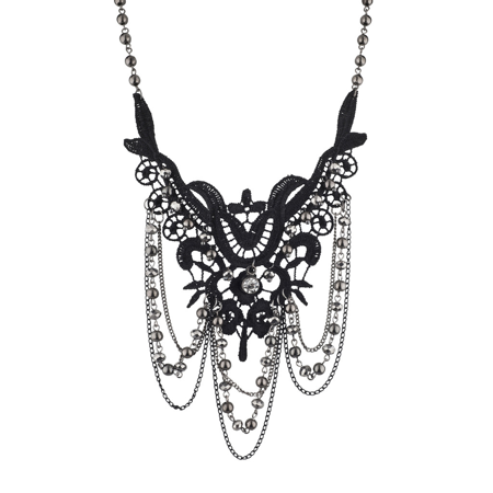 Lux Accessories Black and Hematite Dark Lace and Drape Beaded Statement Necklace