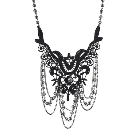Lux Accessories Black and Hematite Dark Lace and Drape Beaded Statement Necklace Hematite Obsidian Necklace