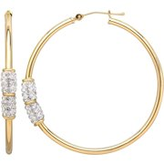 Simply Gold 10kt Yellow Gold Side Crystal 2x42mm Hoop with Swarovski elements Earrings