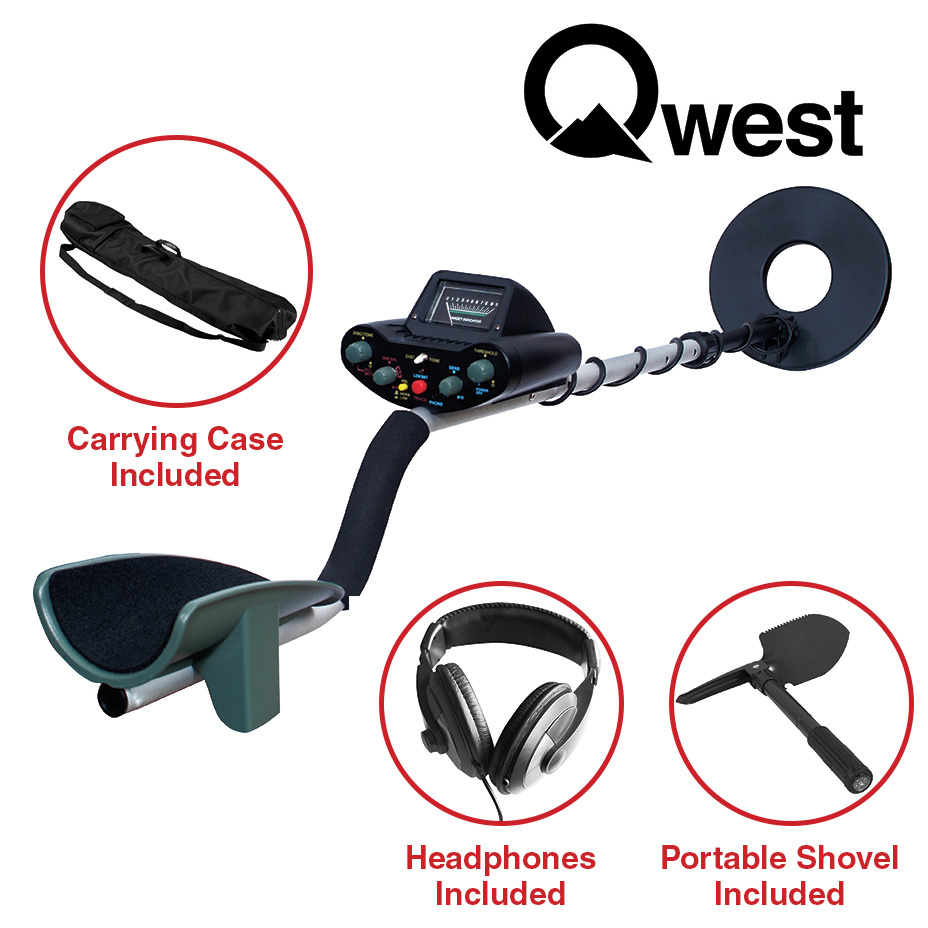 "50"" Metal Detector Kit w  Bag Headphones Shovel Treasure Hunter Waterproof Coil by Qwest"