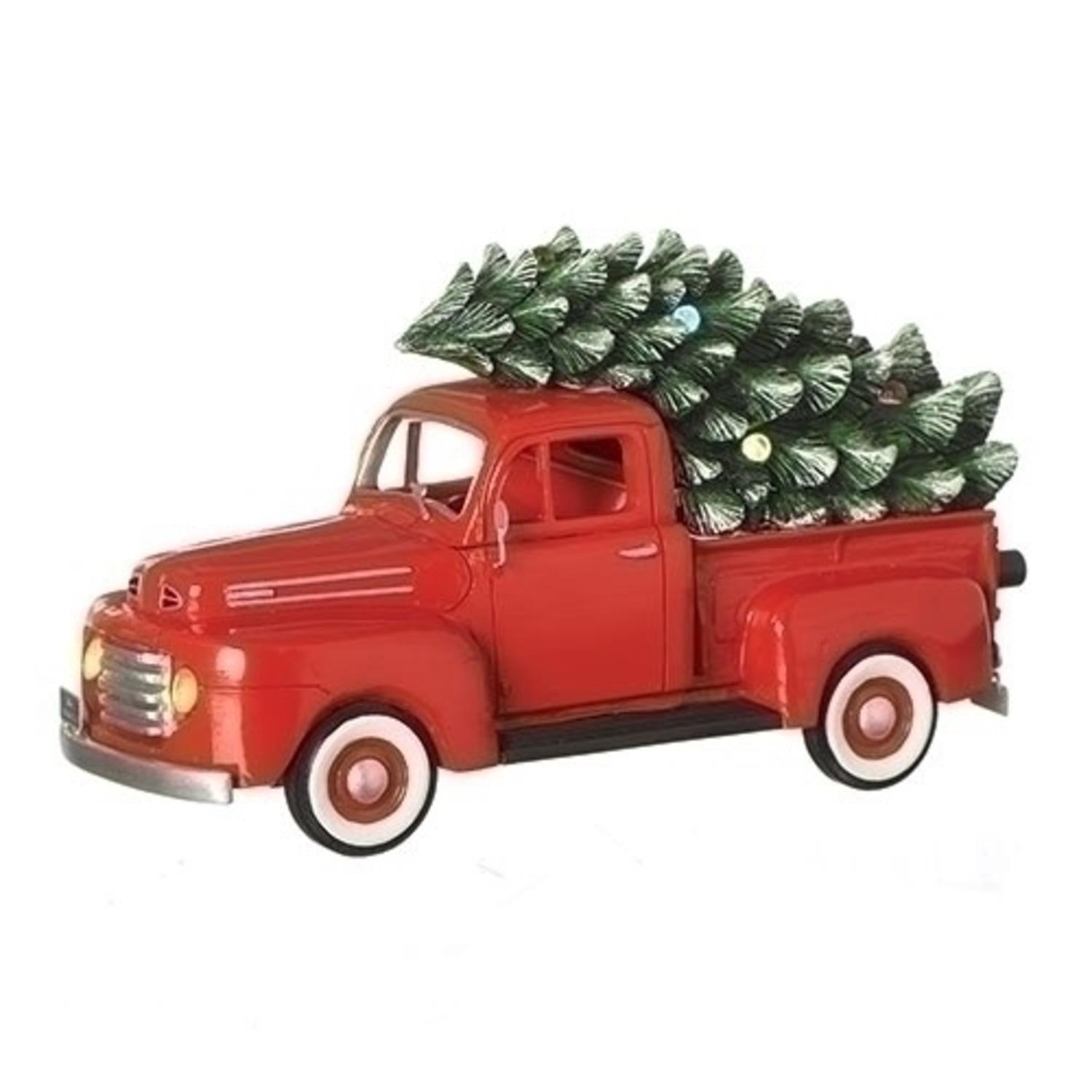 Set of 2 Musical 1948 Ford Truck Retro Christmas Decoration 10.25""