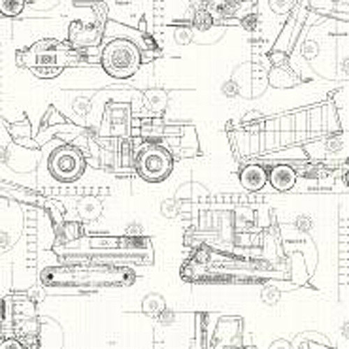 Cool Kids Construction Blueprint Wallpaper, White/Taupe/Grey/Black