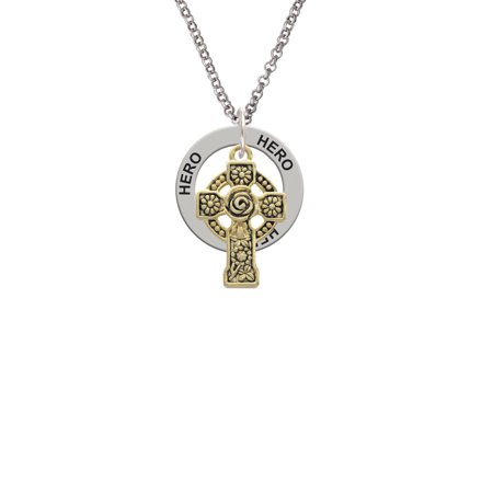 Large Gold Tone Celtic Cross Little Sister Affirmation Ring Necklace