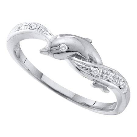 10kt White Gold Womens Round Diamond Dolphin Ring .03
