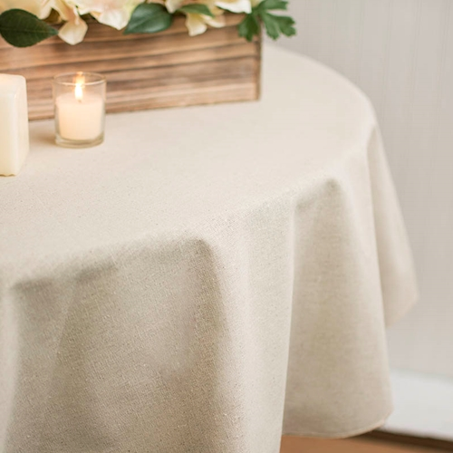 Linen Tablecloth Round Table Cover 60 Inches Selvaged Edge Natural