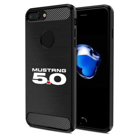 iPhone 7 Plus Case, Ford Mustang 5.0 Black TPU Shockproof Carbon Fiber Textures Cell Phone Case