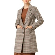 Allegra K Women's Winter Outwear Buttoned Houndstooth Long Coat (Size XS / 2) Brown