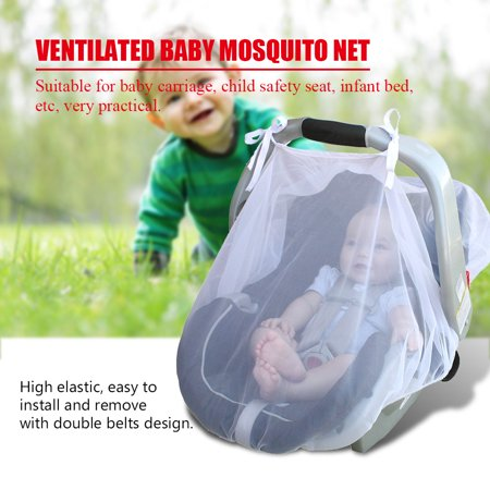 Dilwe Infant Car Seat Net, Infant Mosquito Net,Ventilated Baby Mosquito Net Infant Carriage Stroller Car Seat Cover Protection Tent