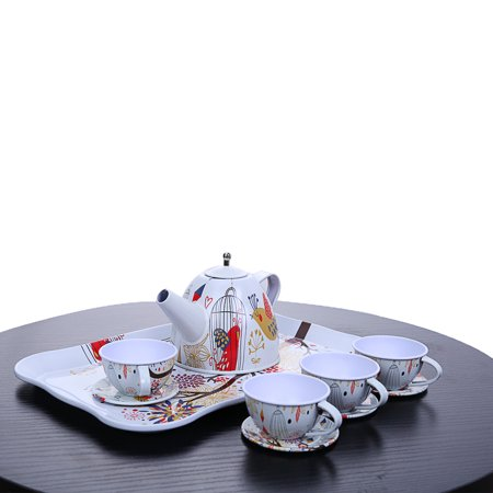 CARLTON GLOBAL Children's Pretend Toy Deluxe Afternoon Tin Tea Set & Carry Case-Bird -