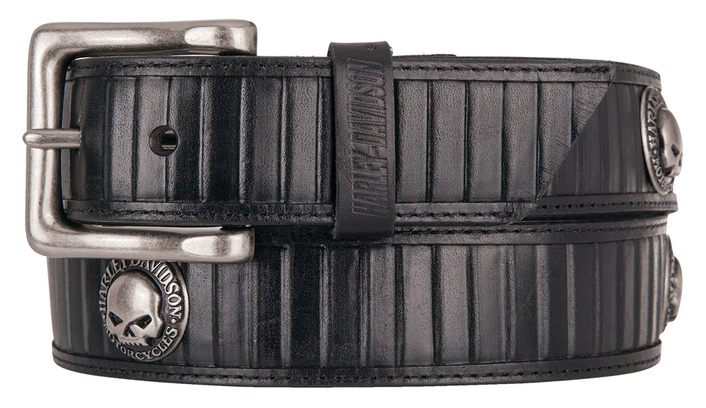 Harley-Davidson Mens Road Bump Willie G Genuine Leather Belt HDMBT11252-BLK