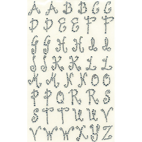 """Dritz Iron-On Rhinestud Letters, 1"""", Curly, Crystal"""