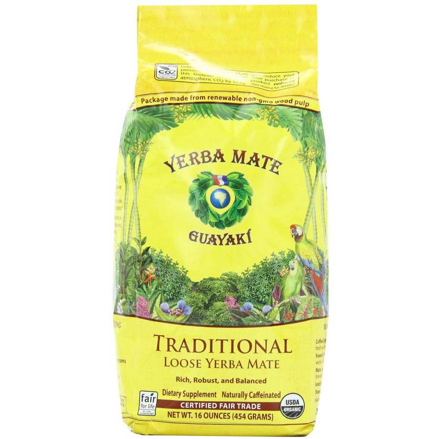 Guayaki Yerba Mate Traditional Loose Yerba Mate Dietary Supplement, 16 oz, (Pack of 3)