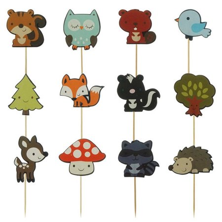 AkoaDa 12Pcs/Set  Wood^^land Party Cupcake Toppers Forest Animals Friends Cake Toppers Picks For Birthday Wedding Party Decor Favour Animal Birthday Cakes