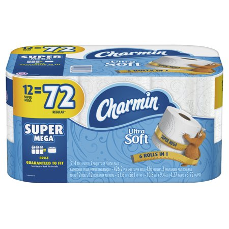 Charmin Ultra Soft Toilet Paper, 12 Super Mega Rolls (= 72 Regular Rolls) (Seattle Toilet Paper)