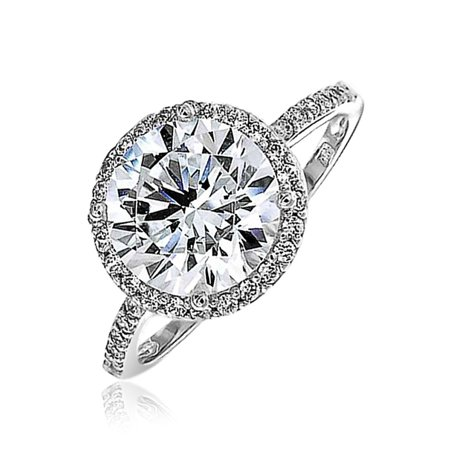 3CT Round Brilliant Solitaire AAA CZ Cubic Zirconia Halo Statement Engagement Ring Thin Pave Band 925 Sterling Silver