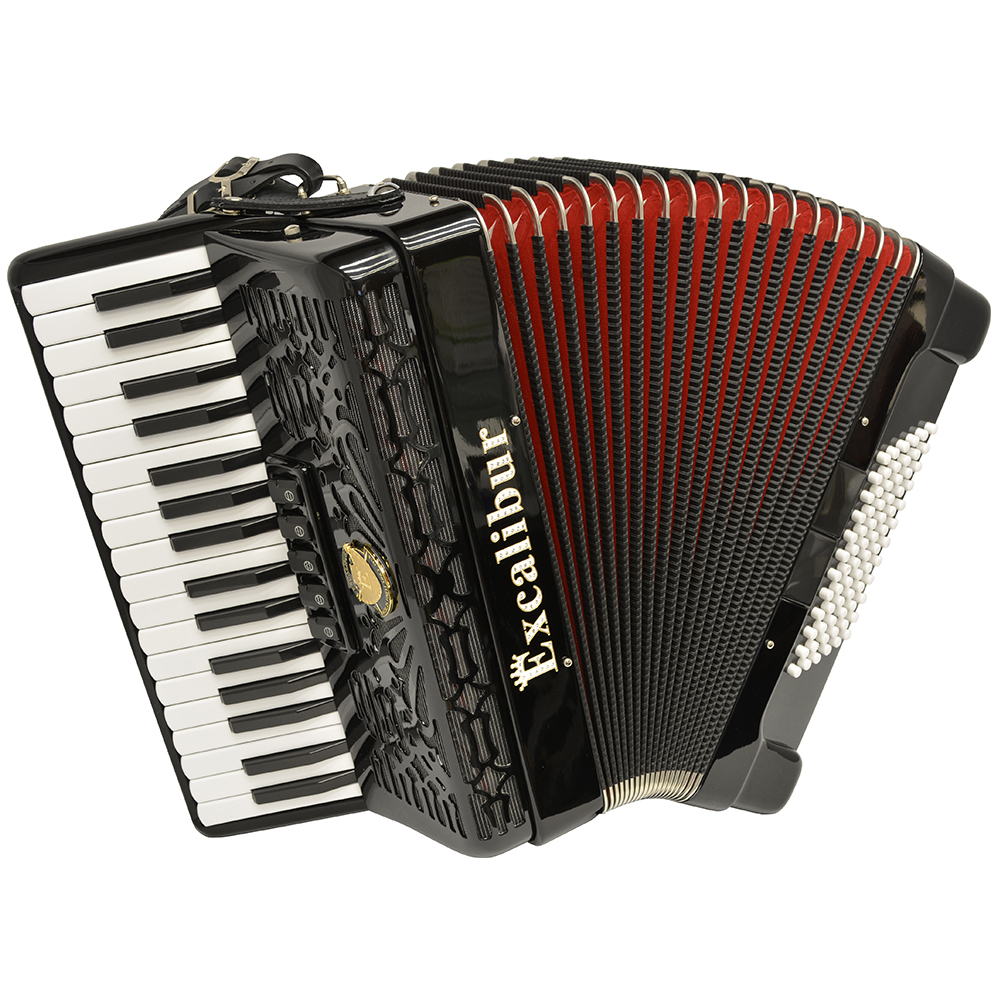 Excalibur Professionale Crown 72 Bass Piano Accordion Black by