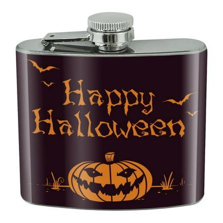 Flask Mob Halloween (Happy Halloween Holiday Pumpkin Jack-o-lantern Bats Stainless Steel 5oz Hip Drink Kidney)