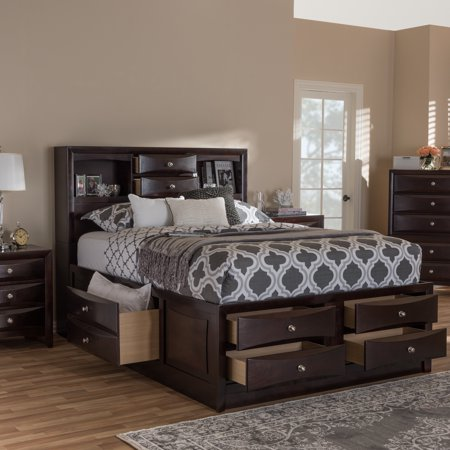 Contemporary Cherry (Baxton Studio Pacifico Modern and Contemporary Dark Cherry Brown Finished 8-Drawer King Size Platform Bed with Bookcase )