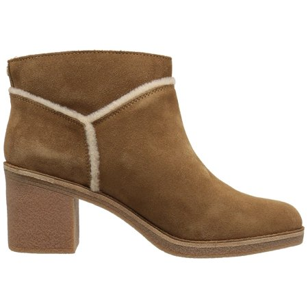 UGG Kasen Women's Shoes Suede Block Heel Ankle Booties 1018644 Chestnut ()