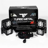 TurboMetal 12 W Cree LED Light Bar Set & A Pillar Double Row Mounting Brackets for 2007-2015 Jeep Wrangler