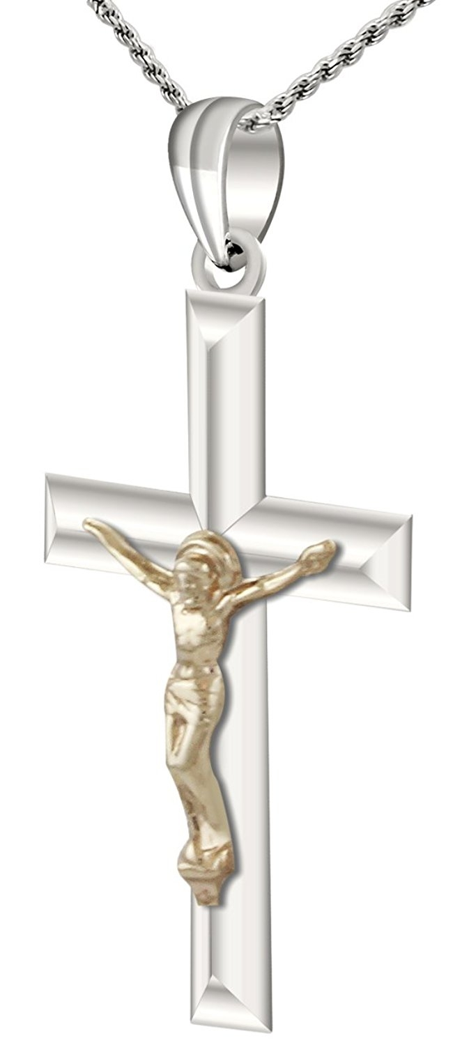 Sterling Silver Themed Jewelry Pendants /& Charms Solid 14 mm 32 mm Crucifix Pendant