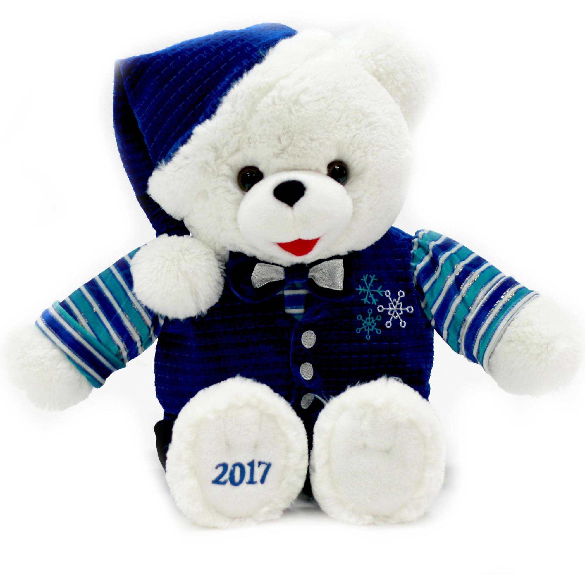 "Holiday Time 20"" White Snowflake Teddy With Blue Vest Plush Toy"