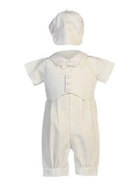 b4d69f2c825 Product Image Baby Boys White Pique Vest Cotton Romper Baptism Outfit Set 0 -3M