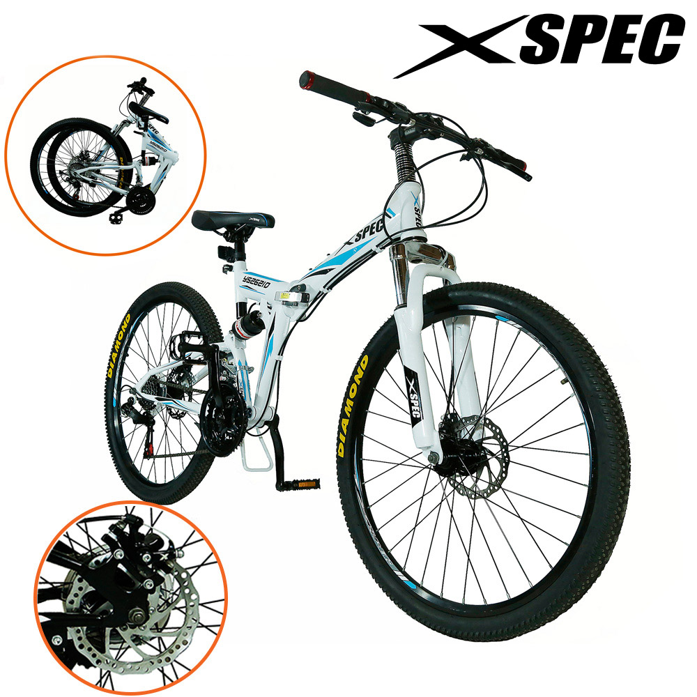 "Xspec 26"" 21 Speed Folding Mountain Bike Bicycle Trail Commuter Shimano"