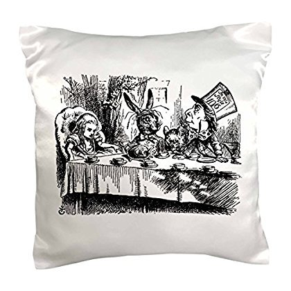 3dRose Mad Hatter tea party illustration by John Tenniel. Alice in Wonderland, Pillow Case, 16 by - Mad Hatter Tea Party Decorations For Sale