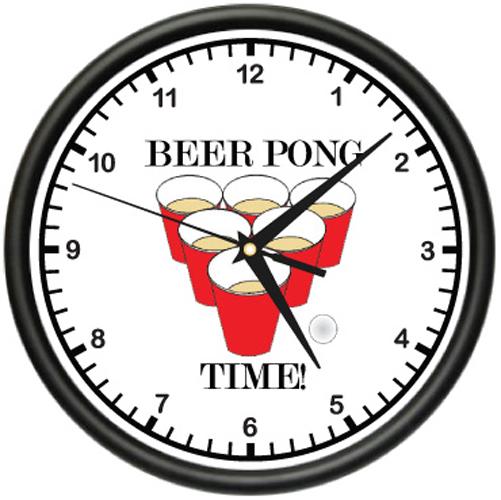 Beer Pong Wall Clock Drinking Game Bar Mug Table Keg