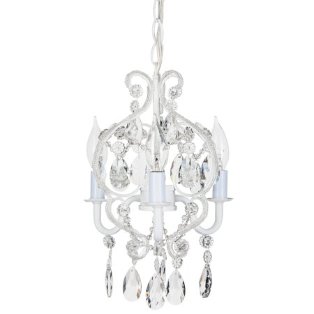 Amalfi Décor 3 Light Mini Crystal Beaded Plug-In Chandelier (White) | Wrought Iron Frame with Glass Crystals Arm White Flower Crystal Chandelier