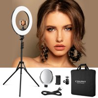 """Christmas light C-RL18-48W 18"""" LED Ring Light 48W Bi-color Dimmable 3200k-5800k±200k Kit with Light Stand, Hot Shoe, Cosmetic Mirror for Camera Smartphone Selfie Youtube Video Shooting"""