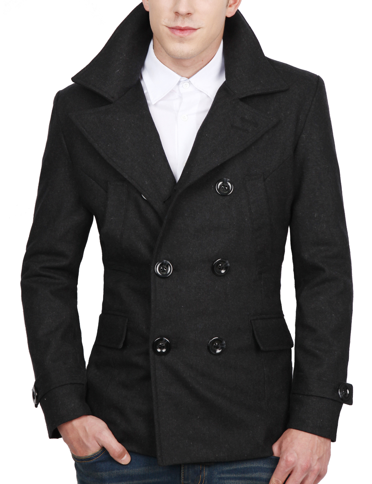 Doublju Mens Casual Double Wool Jacket Outer by