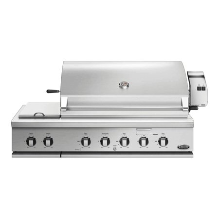 BH148RSL 48 Traditional Built-In Liquid Propane Grill with 3 Stainless Steel Burners 1 Smoker Tray Rotisserie 2 Side Burners 1115 sq. in. Cooking Surface and Drip Pan in Stainless Steel (Propane Grill Smoker)