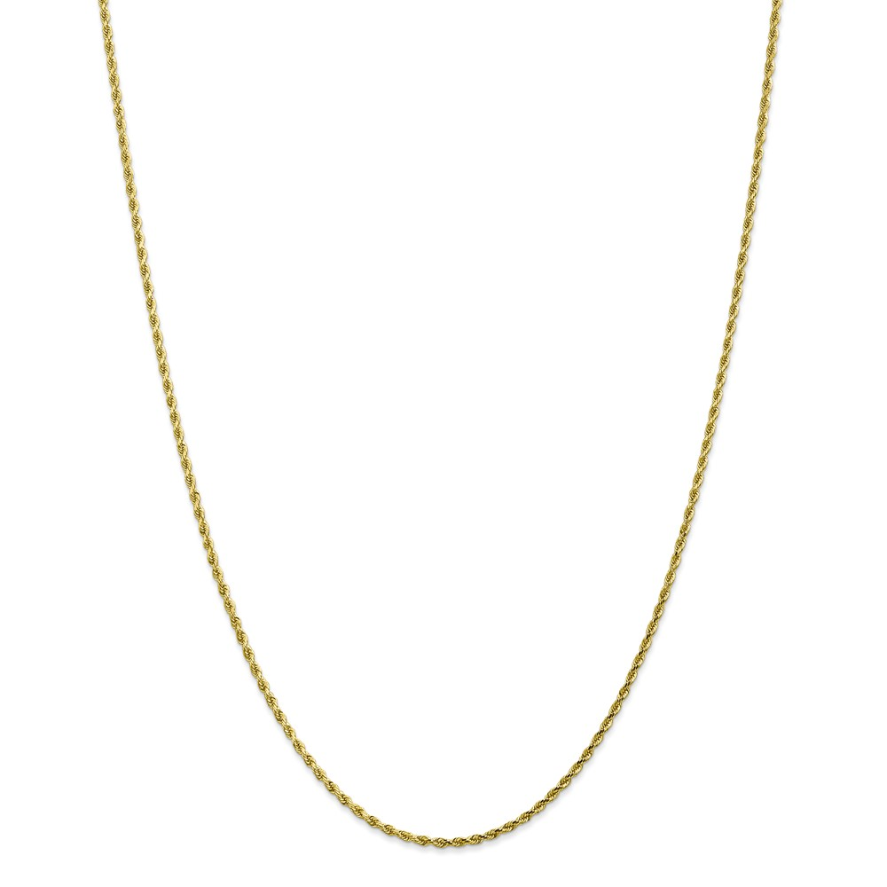 "10K Yellow Gold 2mm High Polished Diamond-Cut Rope Necklace Chain -16"" (16in x 2mm)"