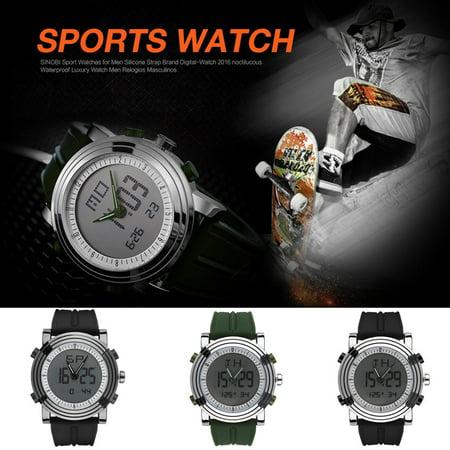 SINOBI Men Sports LED Watch Quartz Digital Analog-Digital Wrist Watch Waterproof with Alarm Clock, Stopwatch ,Chime Waterproof Watch ,Date