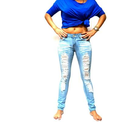 JACK DAVID Light Blue Womens Denim Stretch Jeans Destroy Skinny Leg Ripped Distressed Pants Blue Stud Skinny Jean