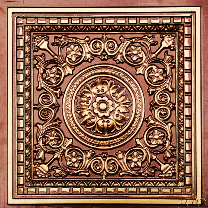 Rhine Valley 2 ft. x 2 ft. PVC Glue-up or Lay in Ceiling Tile in Antique Copper
